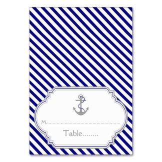 Naby blue anchor nautical wedding escort card