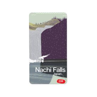 Nachi Falls Japan vintage style travel poster Address Label