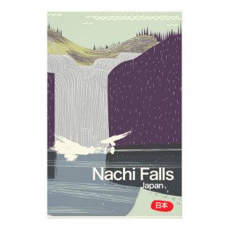 Nachi Falls Japan vintage style travel poster Stationery
