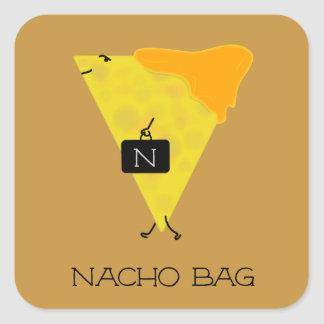 NACHO BAG Tortilla Chip with Cheese Toting a Bag Square Sticker