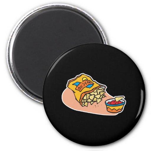nachos and salsa dip fridge magnet