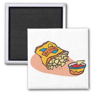 nachos and salsa dip fridge magnets