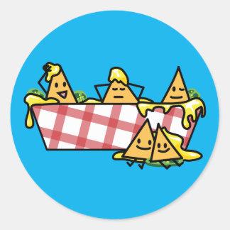 Nachos Melted Cheese Jalapeno Nacho tortilla chips Classic Round Sticker