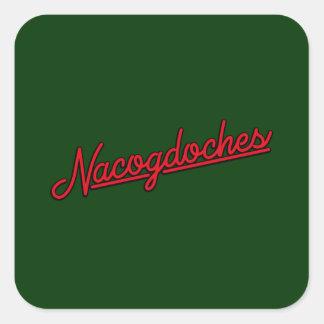 Nacogdoches neon sign in red square sticker