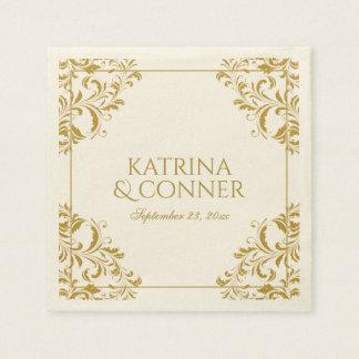 Nadine Cocktail Napkins - Gold on Ecru Disposable Serviettes