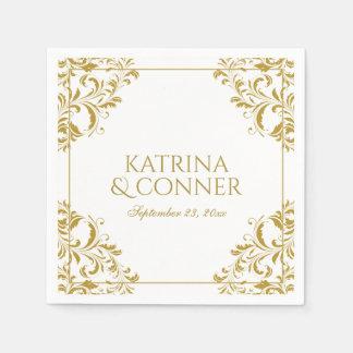 Nadine Cocktail Napkins - Gold on White Disposable Serviettes