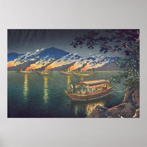 Nagaragawa Cormorant Fishing  Tsuchiya Koitsu Posters