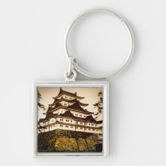 Nagoya Castle in Ancient Japan Vintage 名古屋城 Silver-Colored Square Key Ring