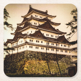 Nagoya Castle in Ancient Japan Vintage 名古屋城 Square Paper Coaster