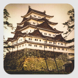 Nagoya Castle in Ancient Japan Vintage 名古屋城 Square Sticker