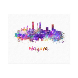 Nagoya skyline in watercolor canvas print