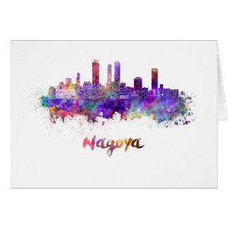 Nagoya skyline in watercolor card