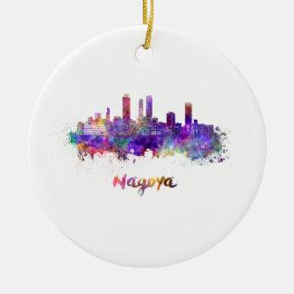 Nagoya skyline in watercolor ceramic ornament