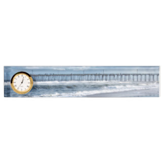 Nags Head Fishing Pier Name Plate with Clock