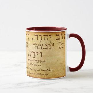 NAHUM 1:7 HEBREW MUG