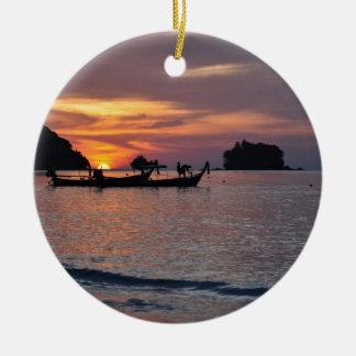 Nai Yang Beach, Phuket, Thailand sunset Ceramic Ornament