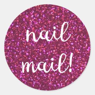 Nail Mail! Faux pink glitter sticker