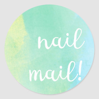 Nail Mail! Sticker - bluey green watercolour
