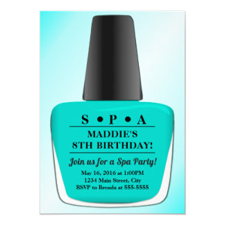 Nail Polish Birthday Invitation Teal Spa Party