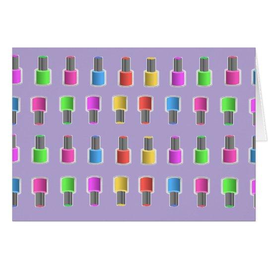Nail Polish Bottle Pattern Lavender Notecard