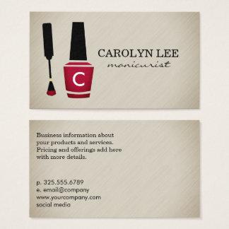 Nail Polish Manicure Monogram Business Card