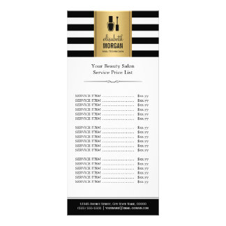 NAIL SALON Gold Black White Stripes Price List Rack Card