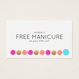 Nail Salon Manicurist Customer Loyalty 10 Punch Business Card