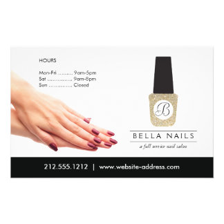 Nail Salon Monogram on Gold Glitter Nail Polish Flyer