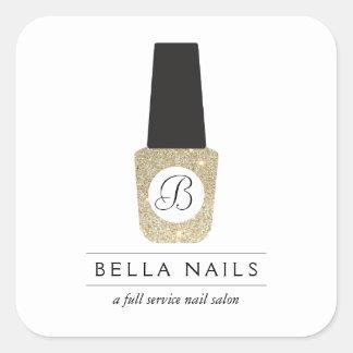 Nail Salon Monogram on Gold Glitter Nail Polish Square Sticker