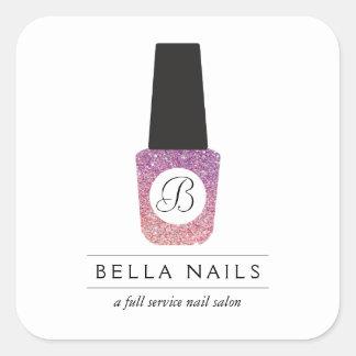 Nail Salon Monogram on Purple Glitter Nail Polish Square Sticker