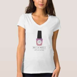 Nail Salon Monogram on Purple Glitter Nail Polish T-Shirt