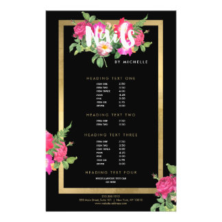 Nail Salon, Nail Artist Floral Script Text Black 14 Cm X 21.5 Cm Flyer