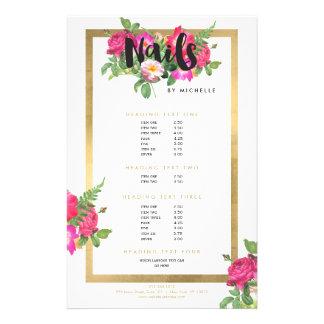 Nail Salon, Nail Artist Floral Script Text White 14 Cm X 21.5 Cm Flyer