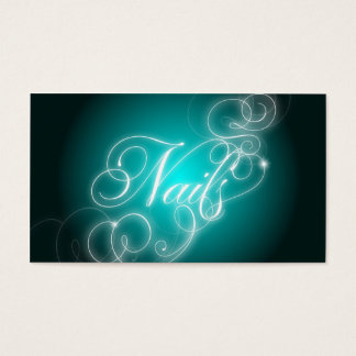 Nail Tech Business Card Elegant Flourish Glow