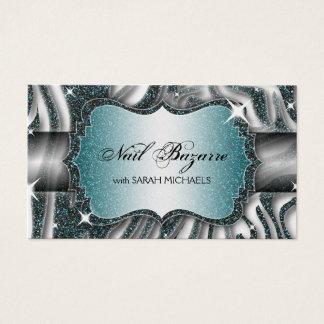 Nail Technician Business Card Zebra Print Glitter