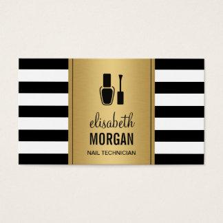 NAIL TECHNICIAN Elegant Gold Black White Stripes