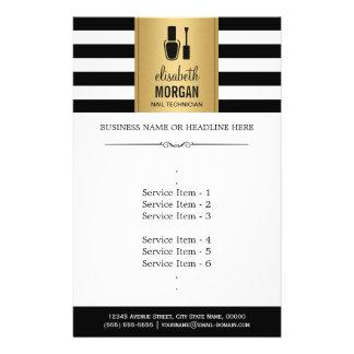 NAIL TECHNICIAN Elegant Gold Black White Stripes 14 Cm X 21.5 Cm Flyer