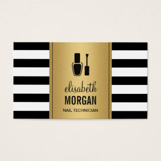 NAIL TECHNICIAN Elegant Gold Black White Stripes Business Card