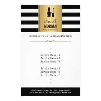 NAIL TECHNICIAN Elegant Gold Black White Stripes Flyer