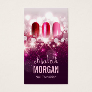 Nail Technician Manicurist - Pink Beauty Glitter Business Card