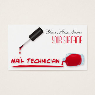 Nail Technician Manicurist Red Nail Polish Bottle Business Card