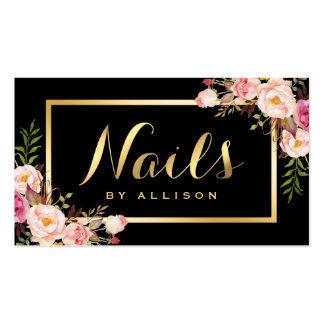 Nail Technician Salon Black Gold Floral Script Pack Of Standard Business Cards