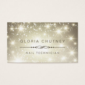 Nail Technician - Sparkling Bokeh Glitter Business Card