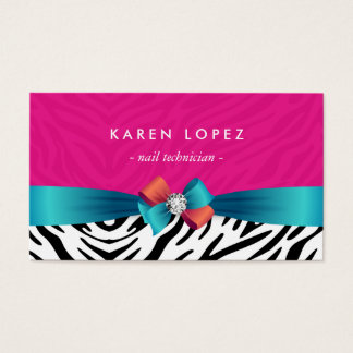 Nail technician business cards business card printing zazzle nail technician trendy pink zebra print business card reheart Image collections
