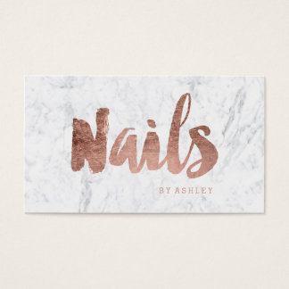 Nails chic modern rose gold typography marble
