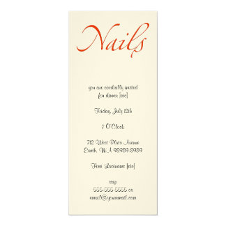 "Nails 4"" X 9.25"" Invitation Card"