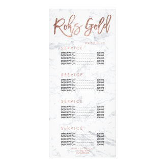 Nails logo gold typography marble price list rack card