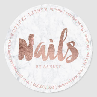 Nails modern faux rose gold typography marble classic round sticker