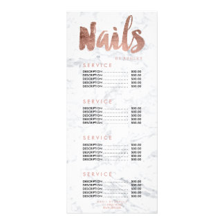 Nails modern gold typography marble price list rack card