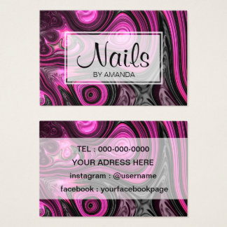 Nails Nail Artist Pedicure NailArt Purple Black Business Card